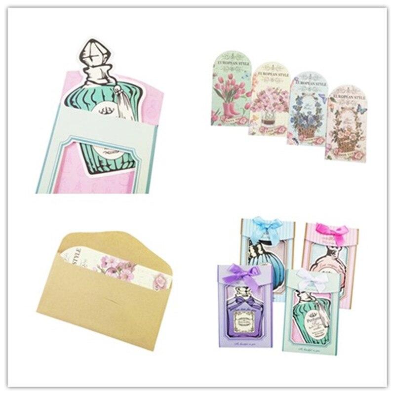30Pcs/lot Romantic Flower Perfume Bottle Shape Greeting Card Four Design Random Lovely Fashion Gift Office School Supplies
