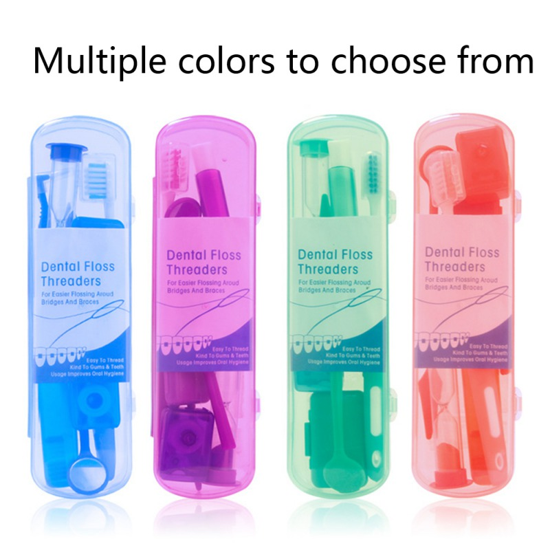 Oral Cleaning Care Dental Teeth Orthodontic Kits Whitening Tool Suit Interdental Brush Floss Thread Wax Mirror