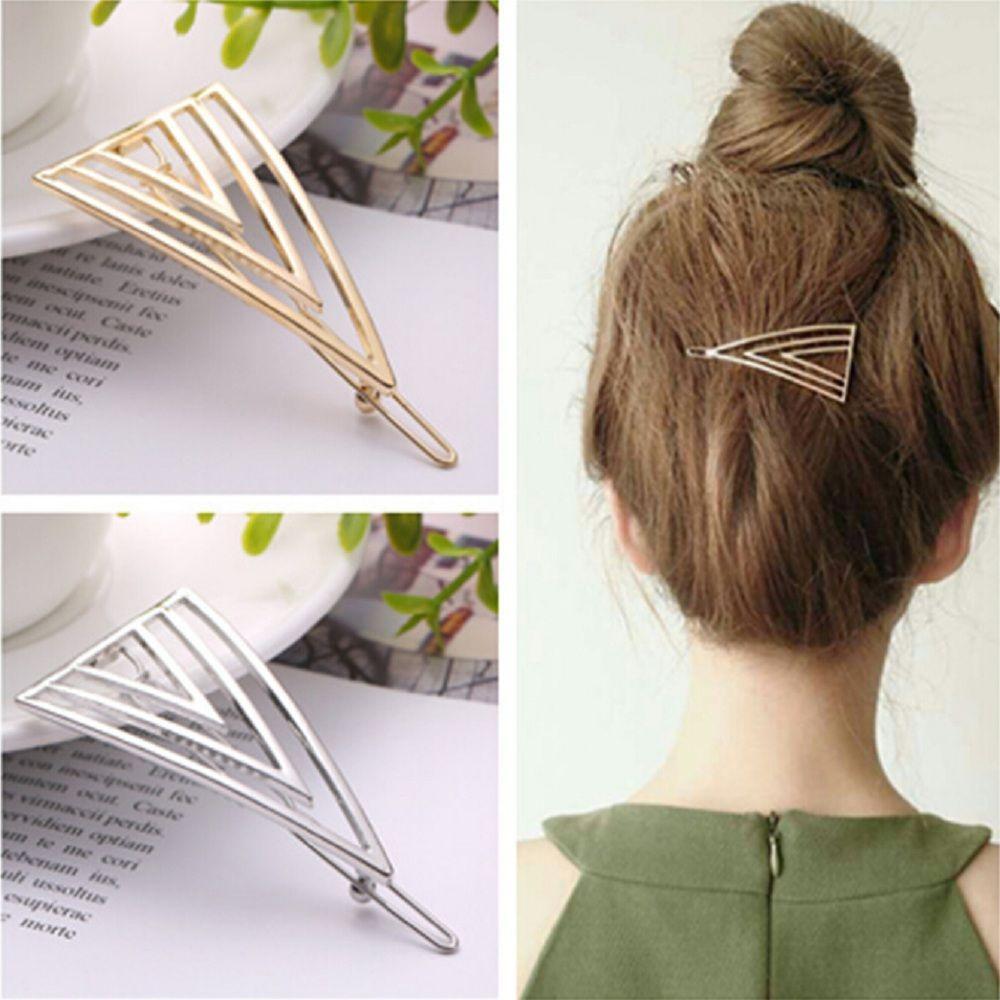 Vintage Geometric Shape Hair Clip Fashion Women Lady Girl Hollow Triangle Barrettes Hairpin Clamps Gold Barrette Headwear
