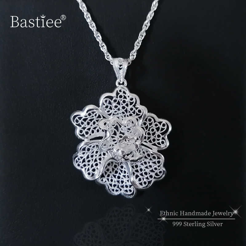 Chakra 999 Sterling Silver Pendant Necklace Women Flower Miao Silver Pendants Luxury Jewelry Boho Handmade Chinese Minority