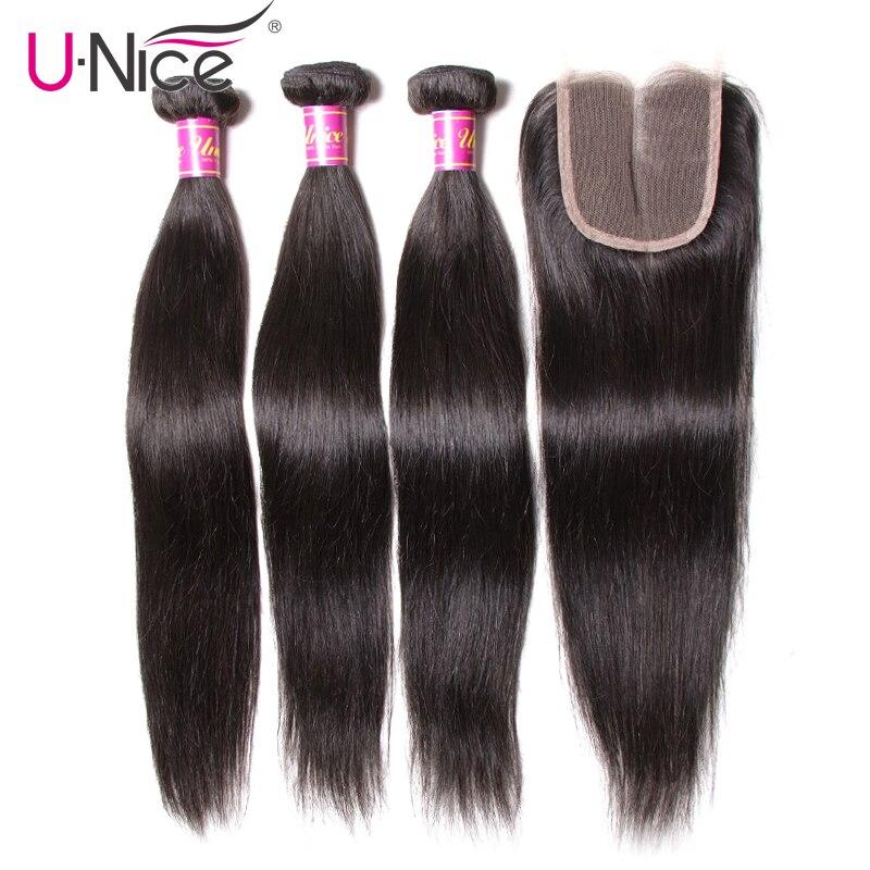 UNice Hair Peruvian Straight Hair 3 Bundles With Closure High Ratio Lace Closure 4/5PCS Swiss Lace Human Hair Weave Remy Hair