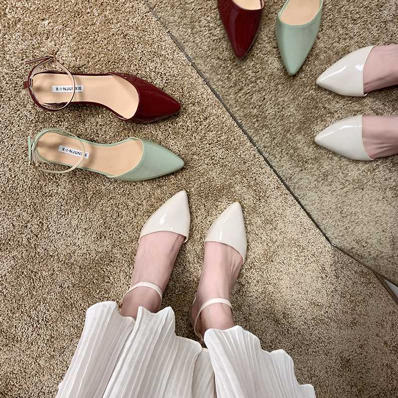 SLHJC Square Heel Leather Sandals 2020 Spring Summer New All Match Pointed Toe Buckle Pumps Med Square Heel Office Work Shoes