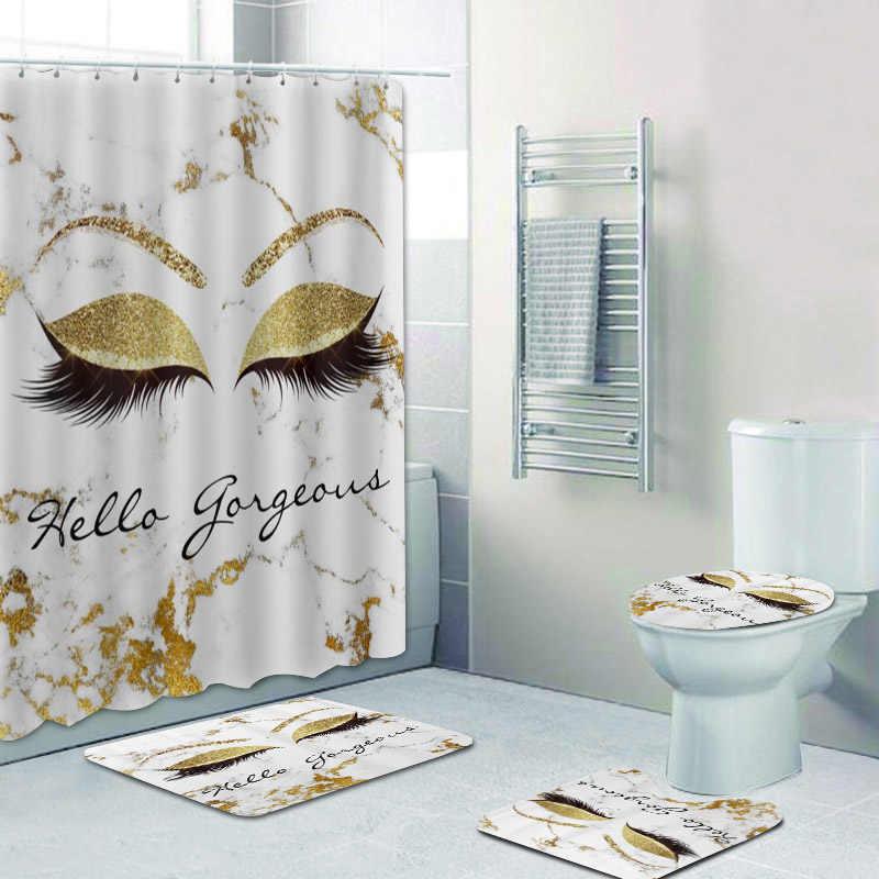 glitter sparkly hello gorgeous marble eye lash shower curtain eyelash lashes bath curtains for bathroom accessories mats rugs