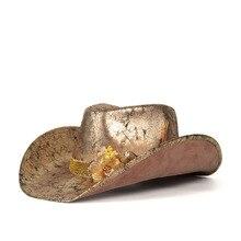 Jazz Hat Cowgirl-Hat Western Women Brim Outdoor Size-58-59cm Flower-Sombrero Gold Rill
