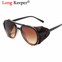 Vintage Round Sunglasses For Men Steampunk 2020 New Retro Leather Side