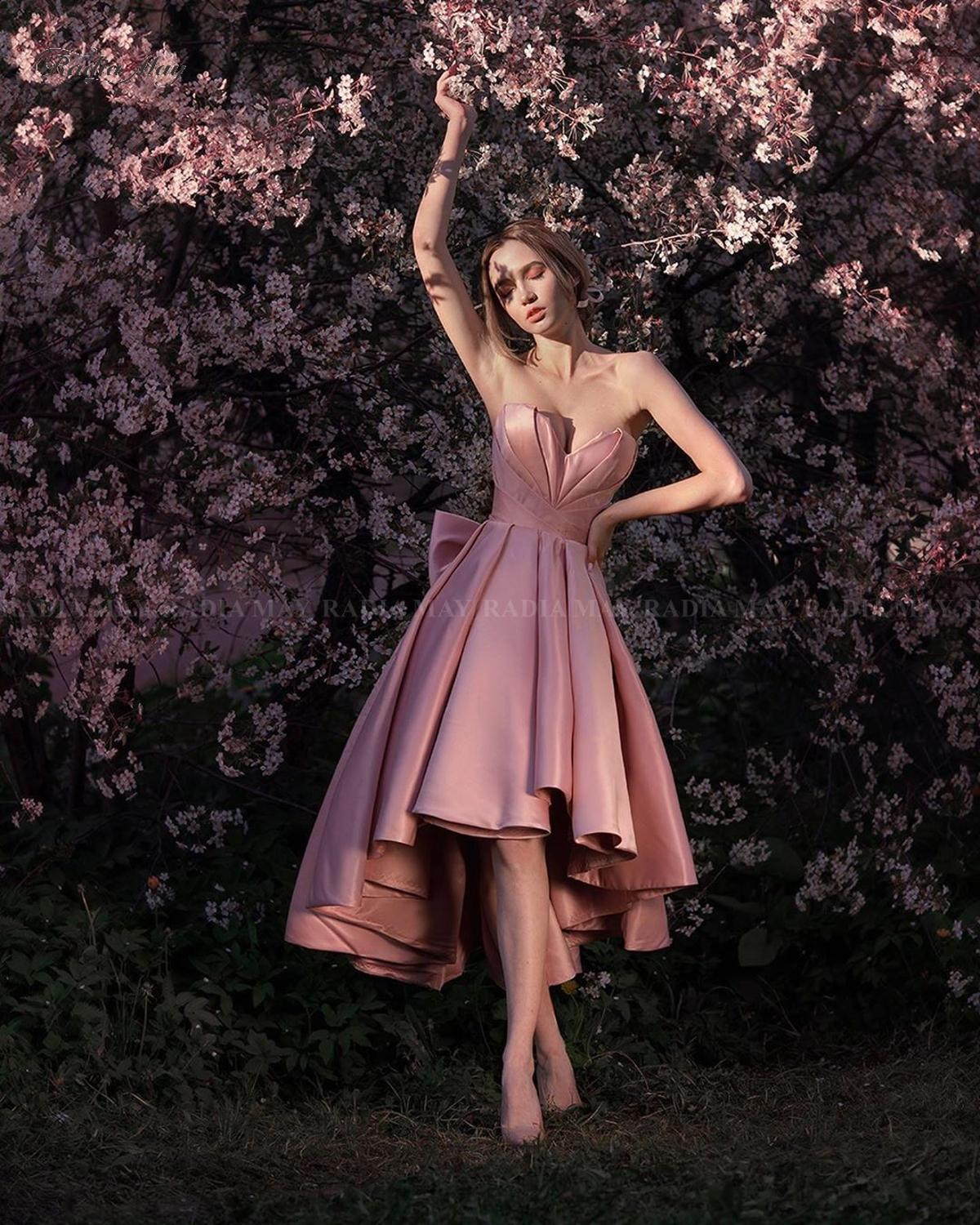 Pink Satin High Low Cocktail Dresses 2020 Sweetheart Short Front Long Back Homecoming Dress Knee Length Graduation Party Gowns