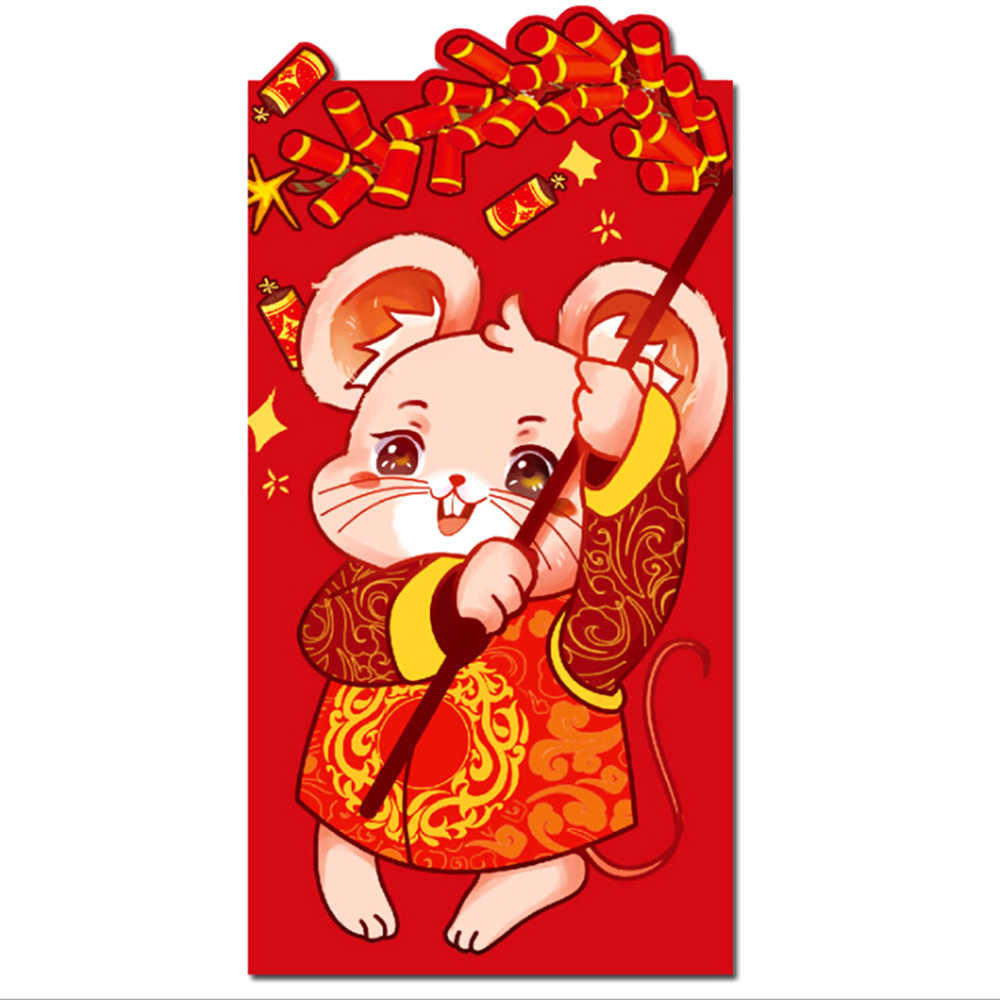 6Pcs Chinese New Year Red Money Envelope Year of the Rat Packet Bag Spring Festival Supplies Red Money Envelope