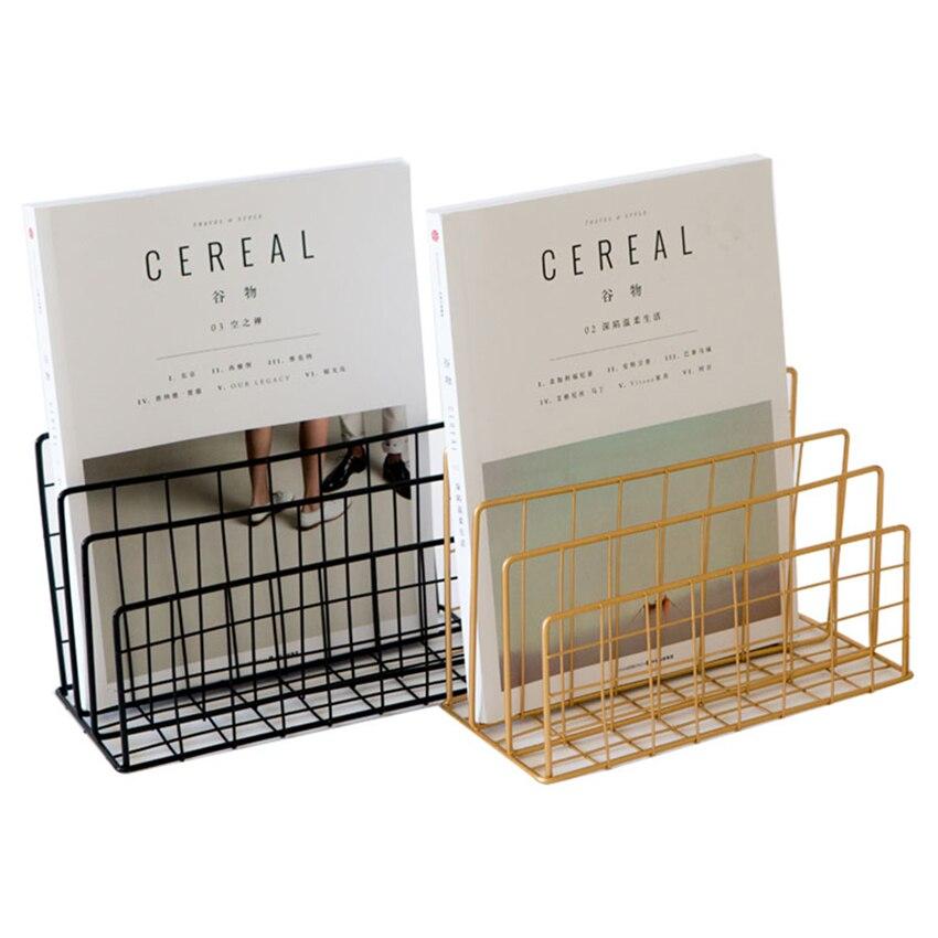 3 Grid Vertical Desktop Organizer Metal Newspaper Magazine Book Holder Rack File Organizer Storage Rack For Home Office