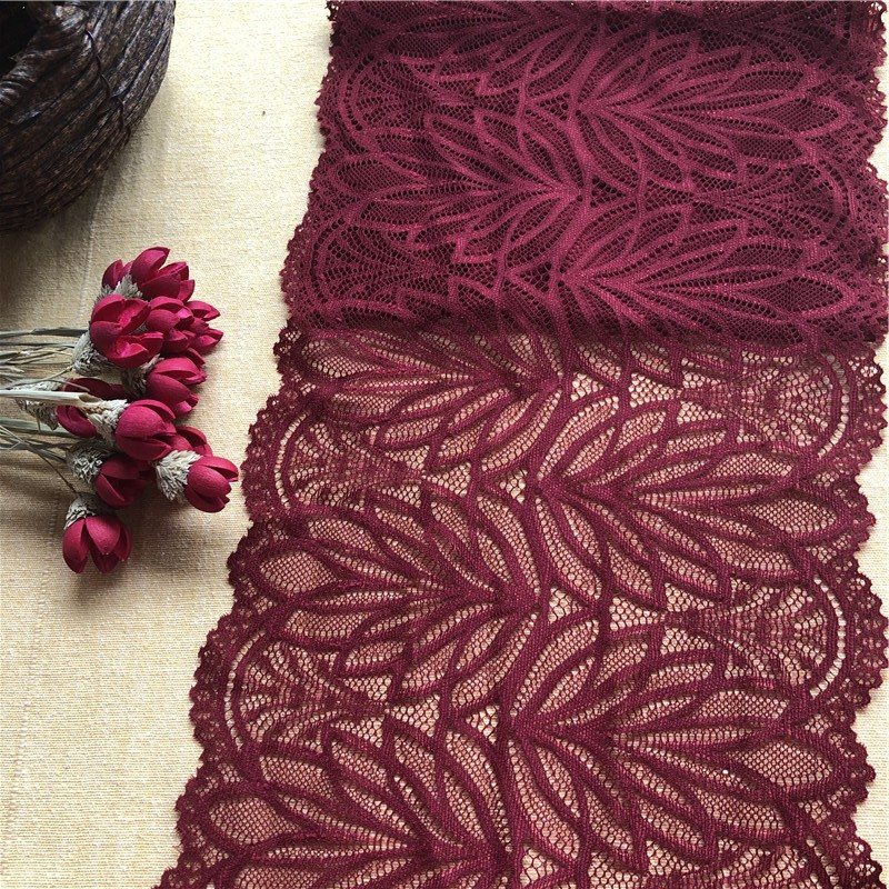 Красное вино мягкая эластичная лента e2895кружева лента diy шитье одежды и ткань ручной работы материал кружева обрезки одежды аксессуары 20см