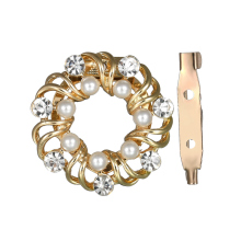 Gariton New Fashion Hollow Shiny Wreath Pearl Shoulder Buckle High-End Luxurious Rhinestone Brooch For Girls