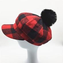 Women Plaid Baker Boy Hat Removable Faux Fur Pompom Girls Red Black Checked Baseball Cap Octagonal Hat Newsboy Winter Hat
