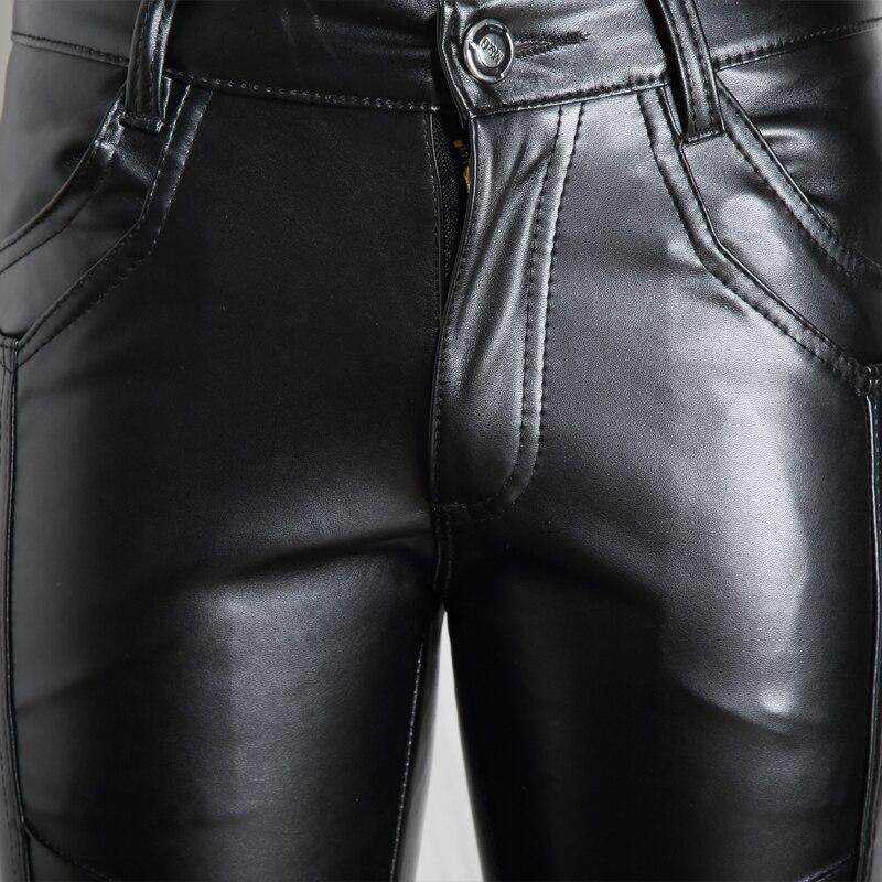 Casual Leather Pants Men Fashion 2020 Skinny Biker Pencil Pants Autumn Winter Black Motorcycle Trousers Pantalones Hombre 28-36