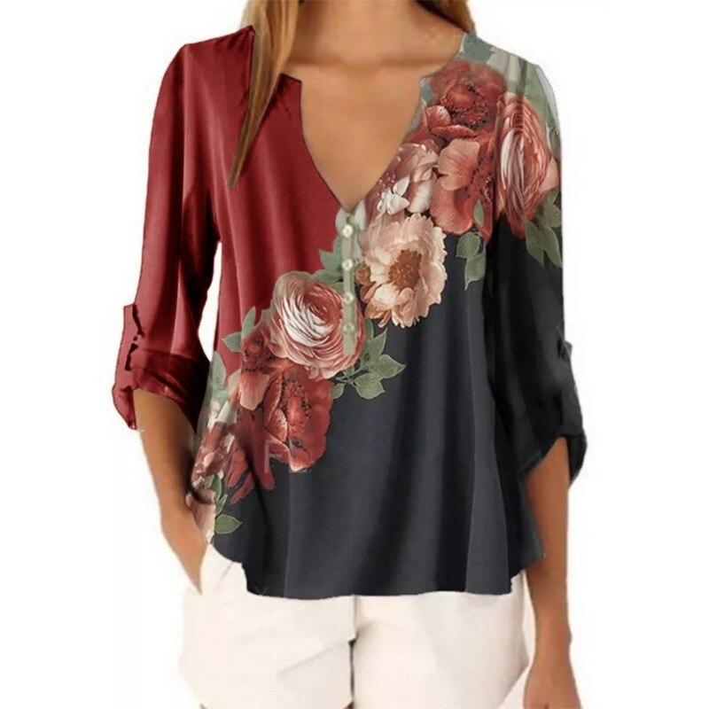 Женская блузка с коротким рукавом, V-образным вырезом и цветочным принтом