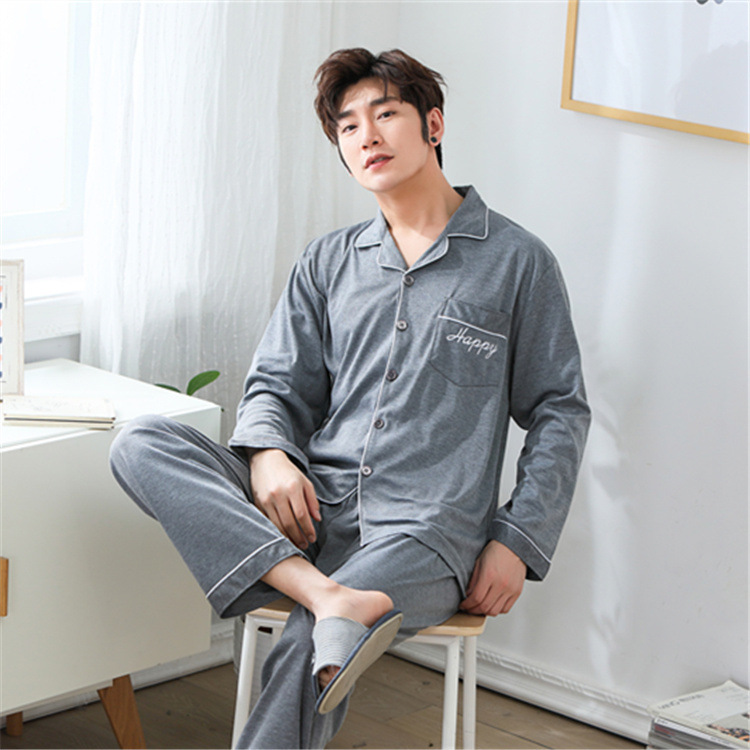 2020 Pyjama Homme Age Season Han Edition Cardigan Leisure Men's Pyjamas Long Sleeve Lovely Young New Plus-size Leisurewear Suit