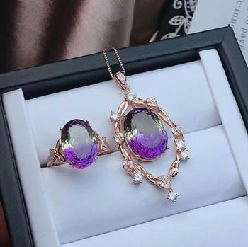 shilovem 925 sterling silver piezoelectric ametrine pendants rings fine Jewelry send necklace wedding gift new jctz1216101499agz
