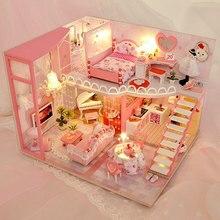 Electric LED Light Creative DIY House Craft Model Girls Toy Handmade Art  Romantic Beauty Girls Room Model Toys For Children