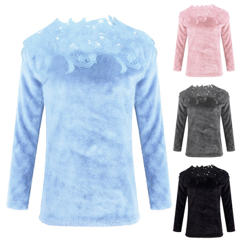 sweater  Autumn and winter ladies lace stitching solid color long-sleeved sweater 2