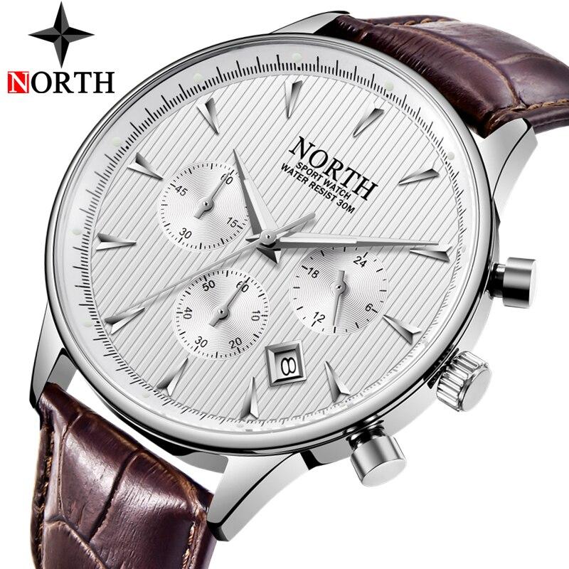 Kuzey moda klasik erkek spor saat adam Analog kuvars saatler su geçirmez tarih askeri çok fonksiyonlu kol saati erkek saat
