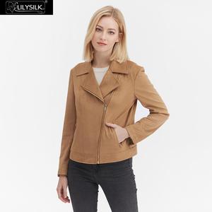 Image 2 - LilySilk מעיל Moto האופנה זמש נשים חדש משלוח חינם