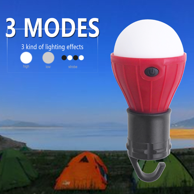 Mini Portable Lantern Tent Light LED Bulb Emergency Lamp Waterproof Hanging Hook Flashlight For Camping 4 Colors Use 3*AAA 4