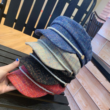 Autumn Winter Chic Visors Flat Top Tweed Pearl Hats Women Fashion Street All Match Caps Elegant Lady Navy Hat Adult 56-58cm