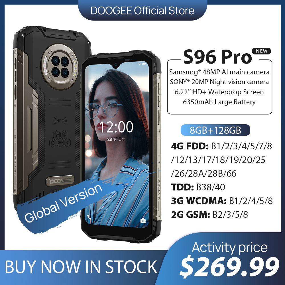 DOOGEE S96 Pro Водонепроницаемый прочный телефон, четыре камеры 48Mп, 20Mп Инфракрасное ночное видение, восьмиядерный прецессор Helio G90, Память 8GB + 128GB ...