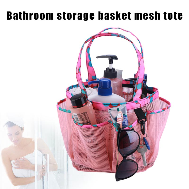 Portable Mesh Shower Caddy With Multi Storage Pockets Fast Dry Hanging Bath Toiletry Bag O66