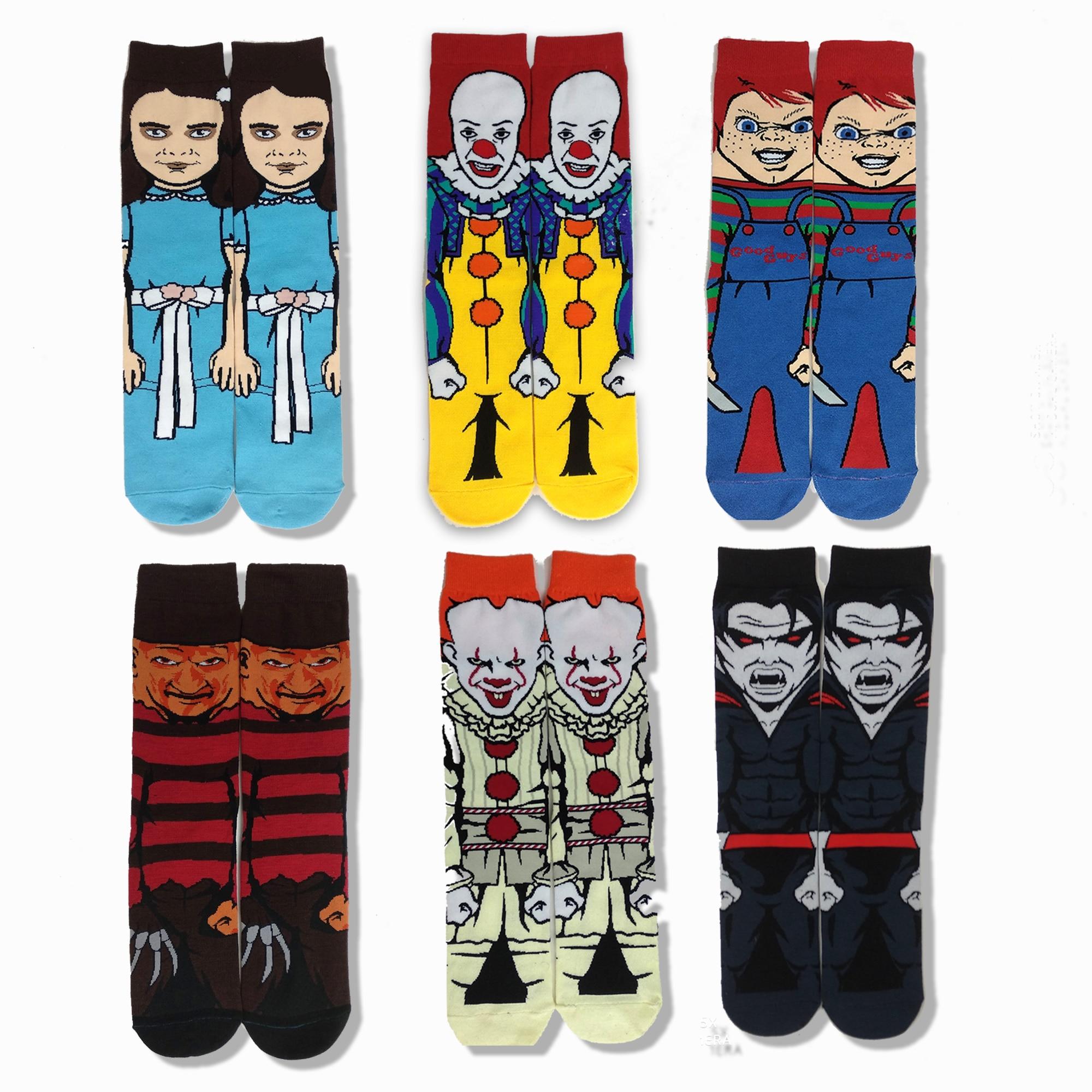 Horror Movie Character Print Crzay Socks Funny Cartoon Novelty Socks Cotton Street Style Thin Summer Dress Novetly Horror Socks
