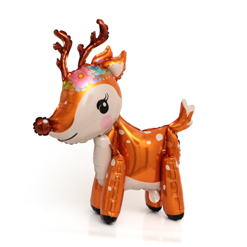 1 pc cute 4D deer balloons walking animal for Christmas party decor kids birthday decorations toys foil globe - discount item  36% OFF Festive & Party Supplies