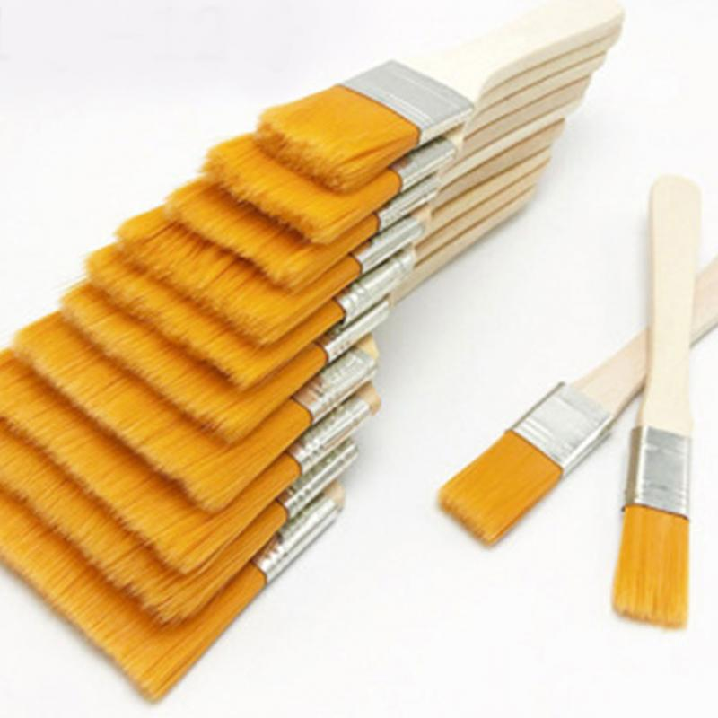 12pcs/set Reusable Paint Brushes Home Tool Wall Decor Barbecue Nylon Gouache With Wood Handles Oil Painting Gift For Children