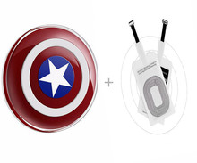 QI Wireless Charger Transmitter+ Qi Receiver For iPhone5 5S SE 6 6S 7Plus Android Phone Captain American Charging Pad kit