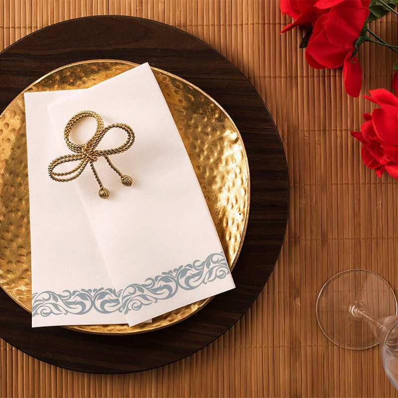 Disposable Linen-Feel Guest Towels - Decorative White Hand Towels, Silver Floral Cloth-Like Paper Napkins