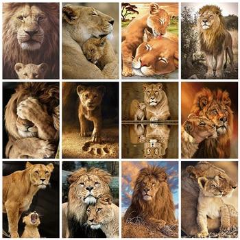 Evershine 5D Diamond Embroidery Lion Animals Diamond Painting Cross Stitch Full Square Rhinestones Mosaic Art Home Decor