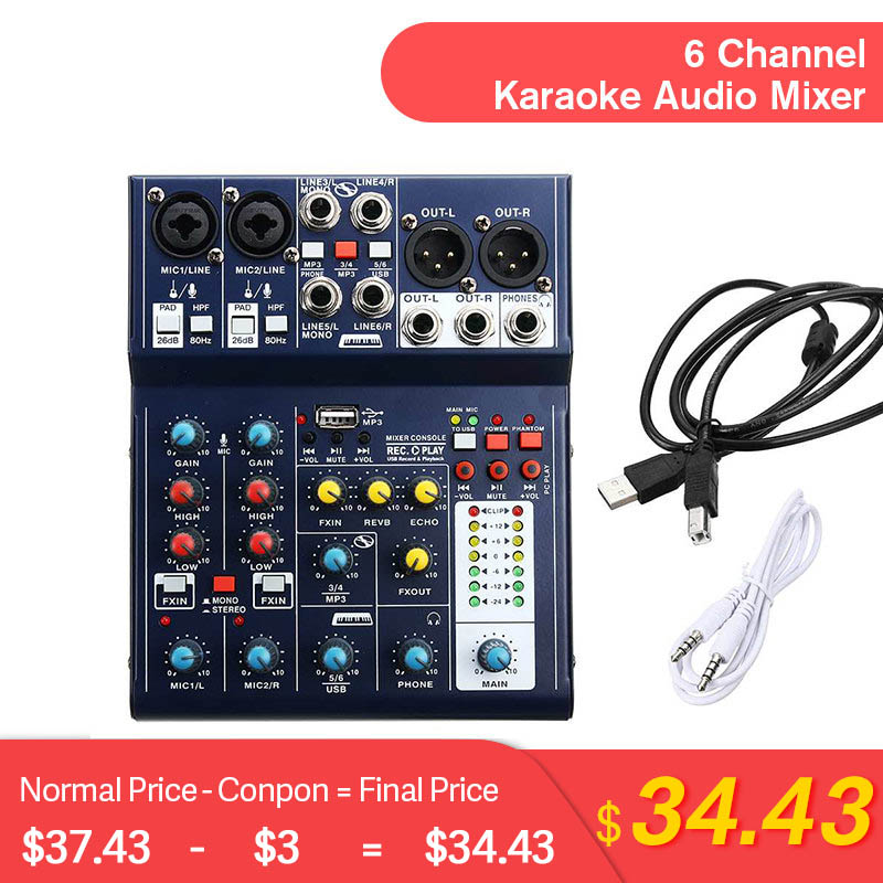 LEORY Mini 6 Channel Sound Mixing Console USB Record Computer 48V Phantom DSP Effect USB Audio Mixer A6 Mixing Console Karaoke