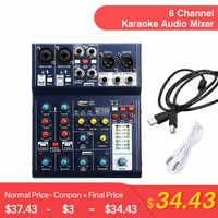 LEORY Mini Console de mixage sonore 6 canaux ordinateur d'enregistrement USB 48V fantôme DSP effet mélangeur Audio USB A6 Console de mixage karaoké