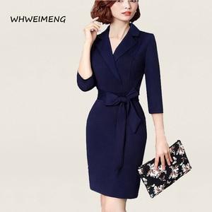 Image 4 - 日のドレス 2020 女性の事務服夏ドレス女性のためのフォーマルウェアvネックエレガントなローブ作業ドレスvestidos