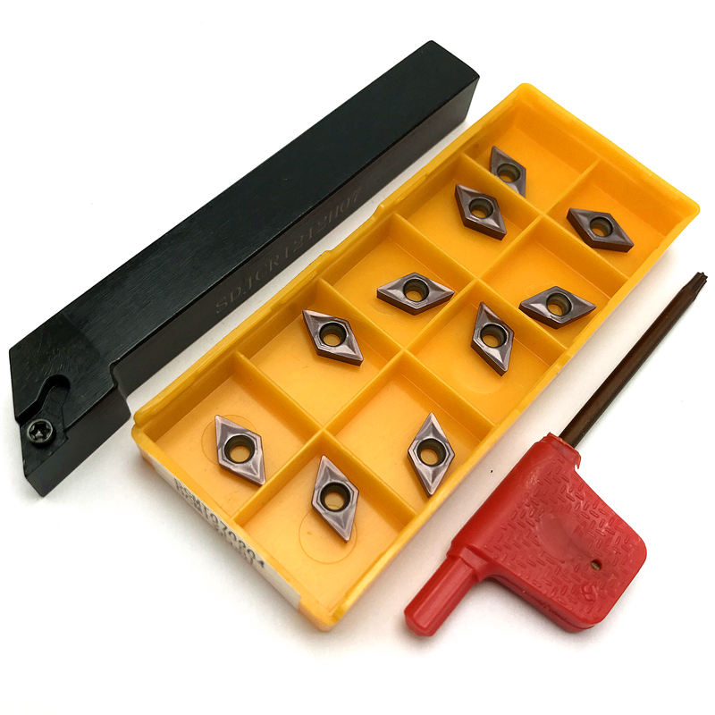 SDJCR0808F07 SDJCR1010H07 SDJCR1212H07+DCMT070204 Carbide Inserts CNC Lathe Tools Cutting Tool External Turning Tool Holder Set