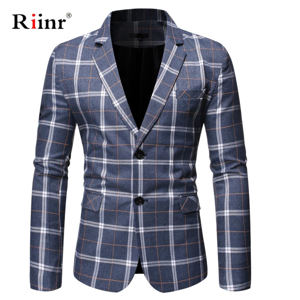 Riinr Brand Clothing Blazer Men Two Button Men Blazer Slim Fit Costume Homme Suit Jacket Masculine Blazer Size M-3XL