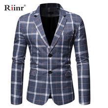 Riinr Brand Clothing Blazer Men Two Button Men Blazer Slim F
