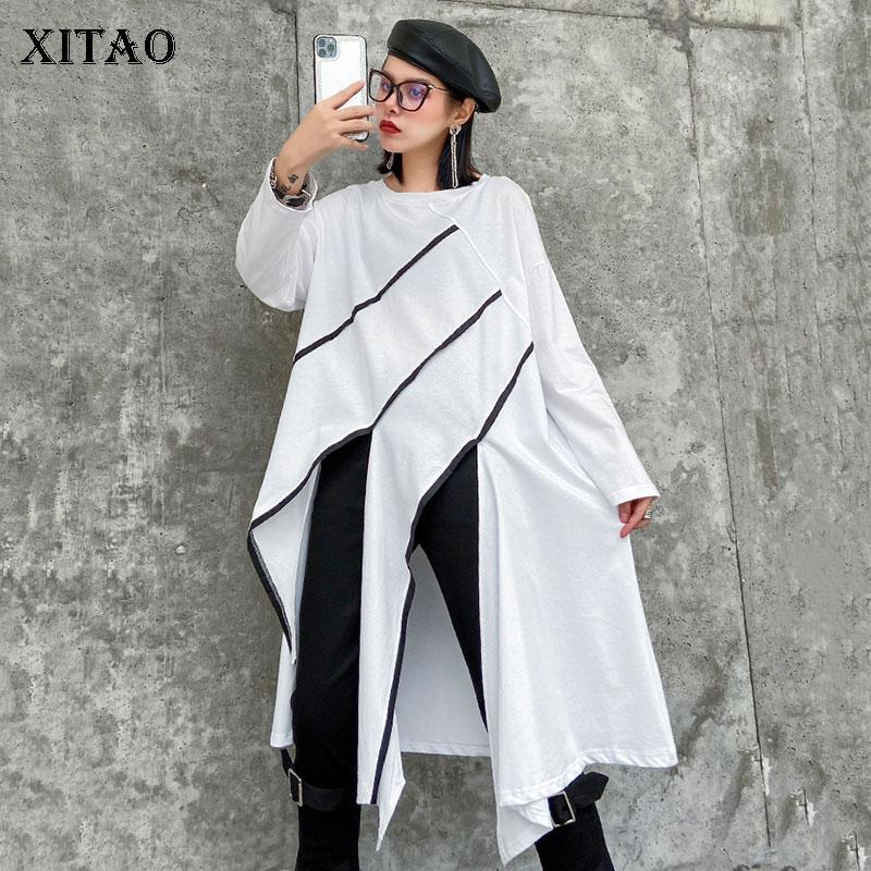 Xitao streetwear manga longa t camisa plus size harajuku costura irregular tshirt tendência roupas femininas 2020 primavera nova dmy3164