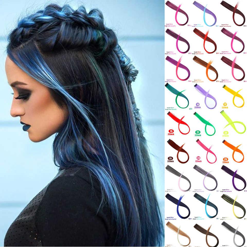 Extensiones de pelo de color arcoíris, extensiones de pelo sintético rosa, púrpura, Azul, de 38 colores, accesorios para el pelo de imitación