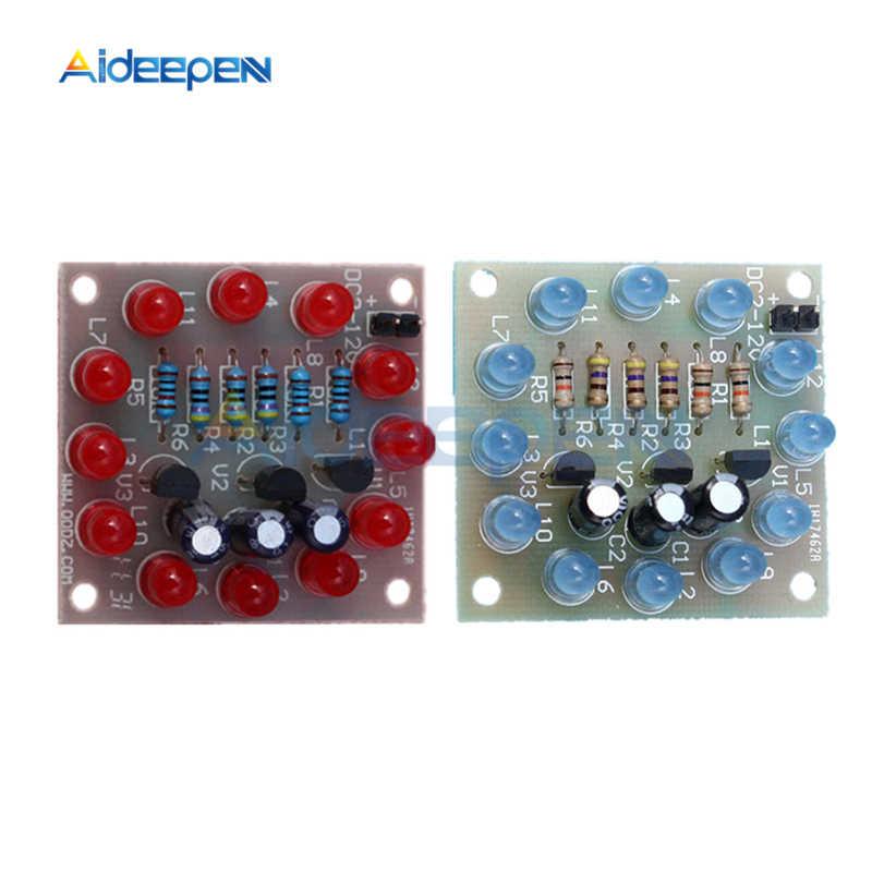 12 قطعة/المجموعة LED فلاش الدوائر ضوء DIY كيت الكمال الإلكترونية التعميم الإلكترونية LED فلاش الأحمر الأزرق