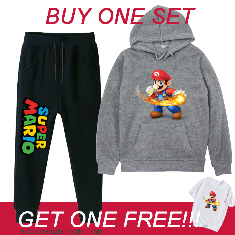 Super Mario Toddler Boys Girls Casual Cloth Set Hoodies Sweatshirt Winter Thick Kids Outfits Children Sweatpants  Suits