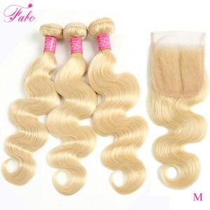 FABC волосы 613 пучки с закрытием бразильские Remy натуральные кудрявые пучки волос объемная волна 4x4 прозрачное кружевное Закрытие с пучками