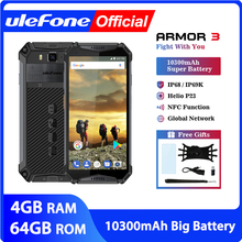 "Ulefone ARMOR 3 IP68 กันน้ำโทรศัพท์มือถือ Android 8.1 5.7 ""FHD + OCTA Core Helio P23 4GB 64GB NFC Global Version สมาร์ทโฟน"