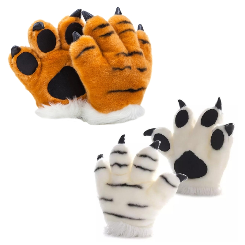 Simulation Tiger Paw Plush Gloves Striped Fluffy Animal Stuffed Toys Padded Hand Warmer Halloween Cosplay Costume Mitten