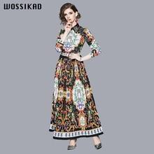 Dress Women Vintage Elegant Bohemian Autumn Flower Long Maxi Dresses Free Shipping Lady Vestiges