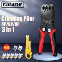 Samzhe Krimpen Tang Draad Tracker RJ11/12/45 Kabel Crimper Strippen Voor 4P/6P/8P ethernet En Telefoon Kristal Hoofd Maken