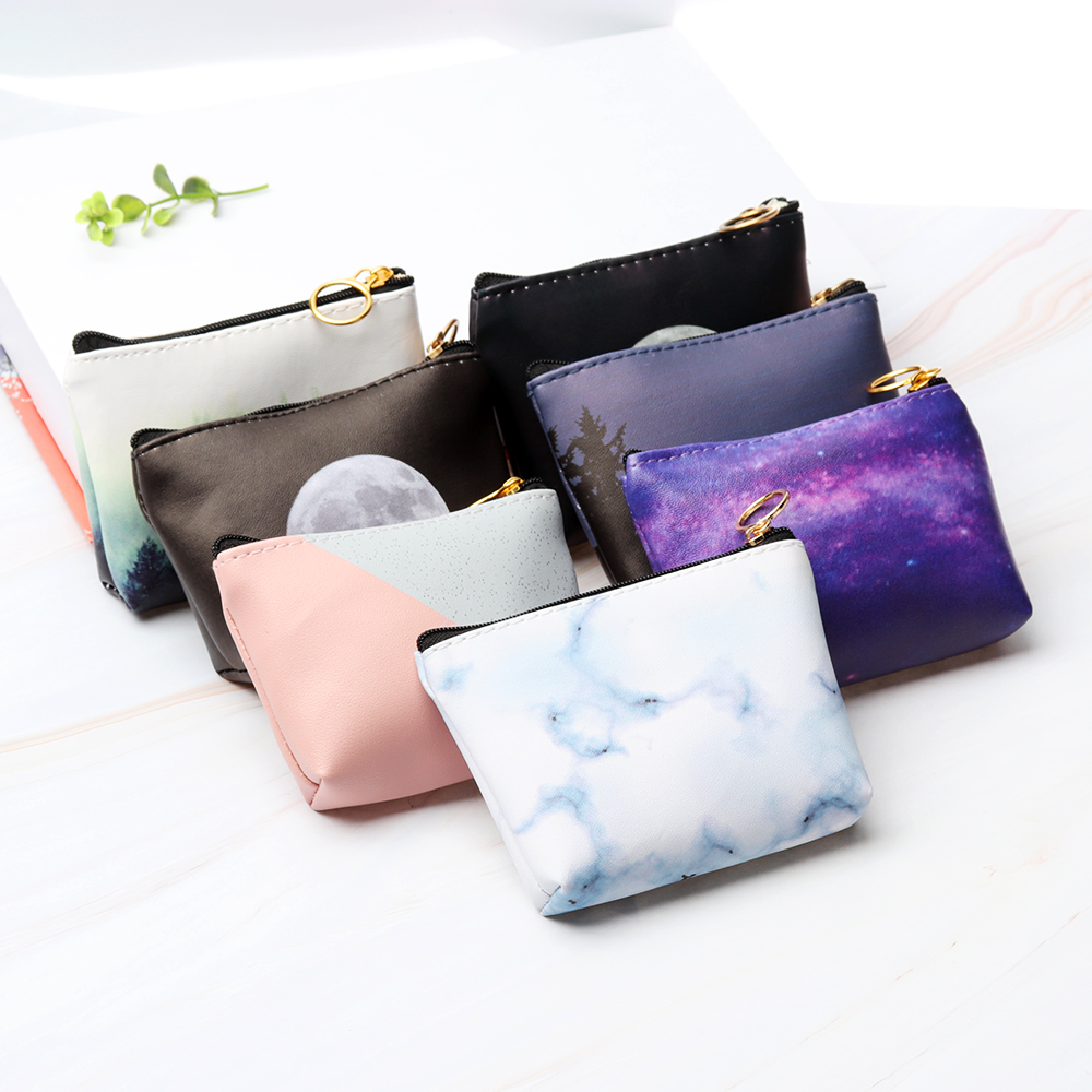 New Fashion Women Small Coin Bag Pu Leather Universe Coin Wallet Purse Cool Stars Small Coin Money Key Card Holder Case Pouch