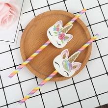 20 шт. бумажные соломинки розового и голубого цвета с единорогом для детской вечеринки, свадьбы, дня рождения, украшения, бумажные соломинки для питья